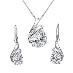 BiBeary Women elegant 925 Sterling Silver Zirconia CZ oval Tree of Life Moon Chain Pendant Necklace clear 8rvGyvW