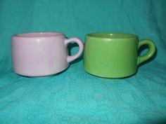 Vintage Pastel Stoneware Cups 2 Pastel Cups by SETXTreasures