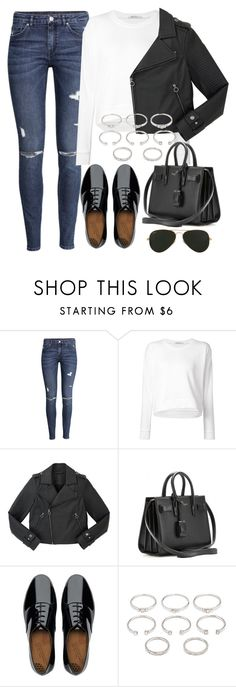 """Untitled #678"" by r0sesandtea ❤ liked on Polyvore featuring H&M, T By Alexander Wang, Marc by Marc Jacobs, Yves Saint Laurent, FitFlop, Forever 21 and Ray-Ban"