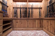 Custom gun rack made from reclaimed wood. pikeroadmillwork.com