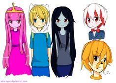 PB, Finn, Marceline, Peppermint Butler and Jake (LOL)