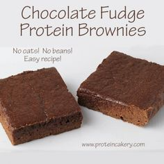 Ripped Recipes - Chocolate Fudge Protein Brownies - No oats, no beans! An easy recipe made with whey, applesauce, and almond butter. Delicious!