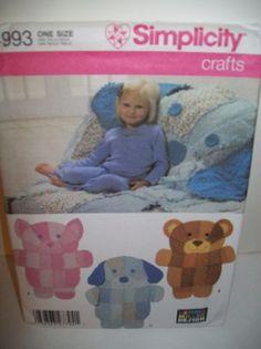 Simplicity 4993 pattern rag quilt animal blanket bear dog for Simplicity craft pattern 4993