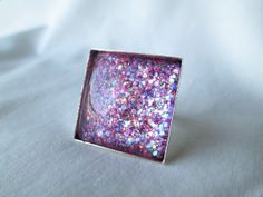 """Pink & Purple Mixed Glitter Nail Polish Adjustable Ring: 25mm / 1"""" Glass Square in Silver Tray Ring Setting"""