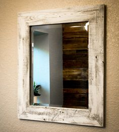 Whitewashed Reclaimed Wood Mirror in Home Decor by Drakestone Designs on Scoutmob Shoppe. Made with locally reclaimed wood and white washed for a light, bright finish.