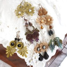 Vintage lace earrings. Make your own from elements of lace cut away or crocheted small modifs. (I think I will stiffen them before putting together so they dont fold up goofy.) Enjoy♥♥♥