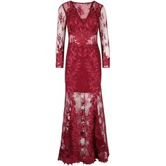 JENNY OX BLOOD RED LACE EVENING GOWN Forever Unique ($235) ❤ liked on Polyvore featuring dresses, gowns, see-through dresses, sheer lace dresses, lace gown, lace dress and red lace gown