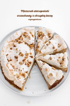 Old-fashioned Shortcrust Polish Easter Tart (Mazurek) with walnuts and meringue Easter Recipes, Dessert Recipes, Polish Easter, Polish Recipes, Polish Food, Mousse, Meringue Cake, Cheat Meal, Cake Cookies