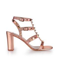 Gold-studded metallic pink sandal by LODI.
