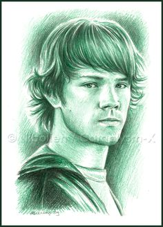 Numero 5 of the 12 coloured Supernatural sketches that I'm drawing. This time it's our very own Sammy Winchester played by the awesome Jared Padalecki. The guy I had the honour to meet and talk to . Supernatural Cosplay, Supernatural Drawings, Supernatural Fan Art, Winchester Supernatural, Sam Winchester, Jared Padalecki, Hunting Drawings, The Boy King, Hyper Realistic Paintings