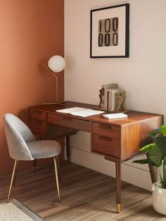 A simple but dreamy work-from-home office space Guest Room Office, Home Office Space, Home Office Desks, Home Office Table, Modern Office Desk, Workspace Desk, Mid Century Modern Dining Room, Mid Century Desk, Mid Century Modern Vanity