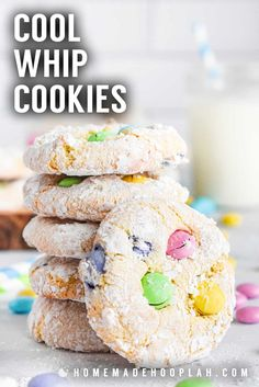 Cool Whip Cookies! These simple cool whip cookies (also called cake mix cookies) only require 4 ingredients, no dough chilling, and are easy to customize with your favorite candy. | HomemadeHooplah.com Delicious Cookie Recipes, Cake Mix Recipes, Easy Cookie Recipes, Easy Desserts, Dessert Recipes, Yummy Food, Easter Recipes, Flourless Peanut Butter Cookies, Chewy Sugar Cookies