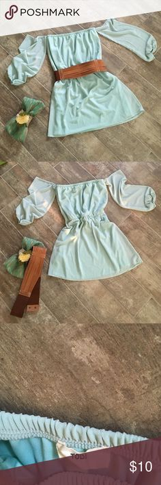 """Country Boho Style Mini Dress or Tunic Sweet and chic!!!  Minty sea foam colored mini dress(or in my case) & or tunic!!!  Bought this from a fellow posher and it is in great condition.  Have not worn, other than to try it on!!!  Beautiful, but don't pull it off the way I hoped!!!  Bust 14"""" flat, but will give a couple of inches due to the elastic and gathering of the fabric.  Waist 13"""", measured at the elastic band.  So it will give a few good inches.  Length 26"""" from top elastic to hem…"""