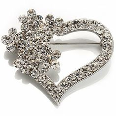 Open Diamante Floral Heart Brooch (Silver Tone) Avalaya. $15.30. Theme: heart, romance. Type: crystal. Occasion: anniversary, mothers day, valentines day. Metal Finish: rhodium plated. Gemstone: diamante