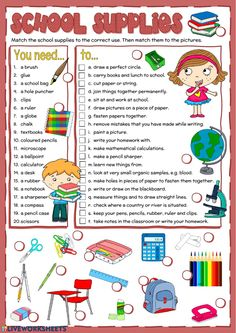 School supplies Language: English Grade/level: elementary School subject: English as a Second Language (ESL) Main content: Classroom objects Other contents: School supplies, reading Learning English For Kids, English Worksheets For Kids, English Lessons For Kids, Kids English, English Activities, Teaching English, English Class, Esl Classroom, Classroom Rules