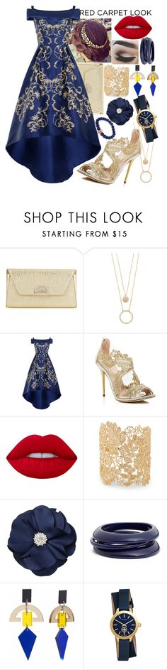 """""""Red Carpet Look #1"""" by panenguin ❤ liked on Polyvore featuring Christian Louboutin, Kate Spade, Chi Chi, Oscar de la Renta, Lime Crime, Sole Society, Natasha Accessories, ZENZii, Toolally and Tory Burch"""