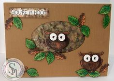 Designed by Marie Jones - Spectrum Noir Sparkle– smoked Quartz, Harvest Moon, Holly Leaf, Olive Jade & Crystal Clear - Twit Twoo & Forest Friends  stamp sets - Watercolour card - Collall All Purpose & 3D glue #crafterscompanion #spectrumnoir #sparkle #handmade #card #craft #owls