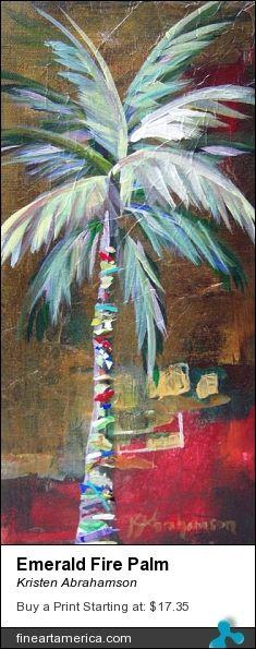 Emerald Fire Palm abstract beach artwork print by Kristen Abrahamson. Perfect for your beach house, coastal décor, palm tree lover, beach art, beach print, coastal art, palm tree art, palm print, palm wall art.