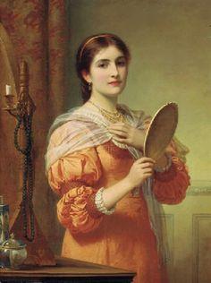 """A Fair Reflection"" -- by Charles Edward Perugini (British, 1839–1918)"