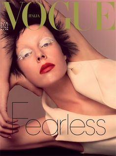 Edie Campbell covers Vogue Italia, April 2013 wearing Dior. Lensed by Steven Meisel.