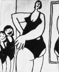 ✽   'when mum gets into her swimming costume!'  -  anita klein  -  linocut