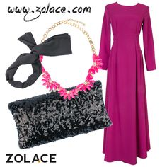 Fashion Combo: Elyana in Fuchsia, in Black, Play the Party in Black, Blooming Season in Fuchsia Hijab Fashion 2016, Hijab Tutorial, Fashion Gallery, Suits You, Couture, Dress Muslimah, How To Wear, Buckets, Veil