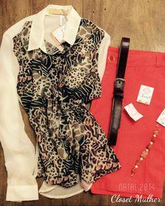 Camisa animal print, bermuda de linho e acessórios.  www.facebook/closetmulher