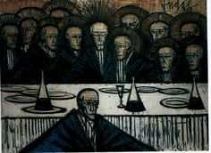 La Cène, Bernard Buffet. Huile sur toile, 200x275cm, 1961, Musée du Vatican, collection d'art religieux moderne.