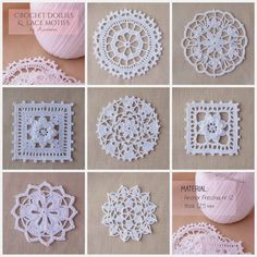 Lace crochet motifs by Anabelia~ Crochet doilies and lace motifs. Thread Crochet, Love Crochet, Filet Crochet, Irish Crochet, Beautiful Crochet, Crochet Crafts, Crochet Doilies, Crochet Flowers, Crochet Lace