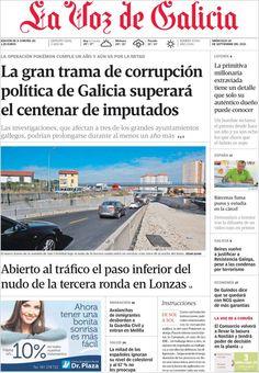 Los Titulares y Portadas de Noticias Destacadas Españolas del 18 de Septiembre de 2013 del Diario La Voz de Galicia ¿Que le pareció esta Portada de este Diario Español?