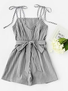 Shop Vertical Striped Tie-Strap Romper With Belt online. SheIn offers Vertical Striped Tie-Strap Romper With Belt & more to fit your fashionable needs. Teenage Outfits, Teen Fashion Outfits, Trendy Outfits, Girl Fashion, Cute Summer Outfits, Cute Outfits, Mode Pop, Look Girl, Jumpsuit With Sleeves