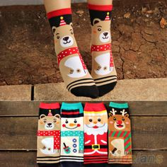 Korean-Womens-Girls-Christmas-Cute-Cartoon-Printed-Mid-Calf-Cotton-Socks-Hosiery