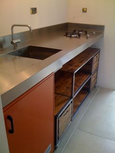 Stainless Steel Countertop With Builtin Sink And Hob