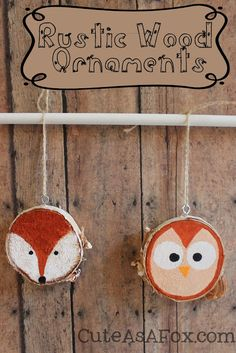 Rustic Hand Painted Woodland Creature Ornaments - #fox #owl