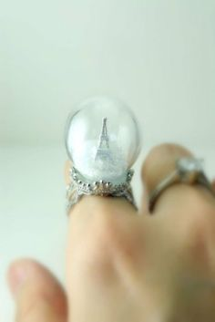 Eiffel Tower snow globe ring - crazy but I love it