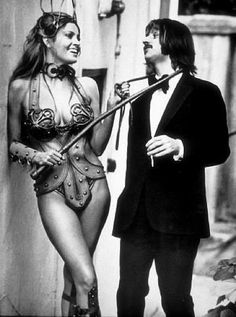 Raquel Welch & Ringo Starr on the London set of the brilliant 'cult' film The Magic Christian. Raquel plays 'Priestess of the Whip'. Well, it IS an English film...KA