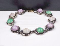 CAROL FELLEY Sterling Silver Multi Stone Link Southwest Designer 925 Bracelet #CarolFelley