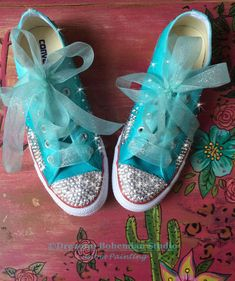 ec131375d30 Customized Converse Wedding Shoes Turquoise Ombré painted Turquoise Wedding  Shoes
