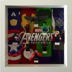 Avengers White Frame Display With Lego Minifigures.