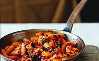 "michaelschlow | RECIPES Fettuccine with Pancetta, Onions, Tomato, and Pecorino Ingredients Makes 2 portions 1 12"" sauté pan 1 med pot of salted boiling water for pasta 1 pasta strainer 3 oz extra virgin olive oil ½ clove of garlic, sliced thin ½ large white onion, sliced 6 oz of pancetta, sliced into 1 inch pieces pinch of fresh rosemary, chopped Kosher salt, black pepper, and crushed red pepper to taste 16 oz of milled (crushed) San Marzano Tomatoes 10 oz of fresh fettuccine ½ cup of grated…"