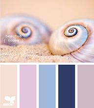 For the Family room :) beached tones - Id paint the wall the light blue, use the lavender and dark blue for pillows or accent colors the tan for curtains and the oatmeal/cream color for the couch.