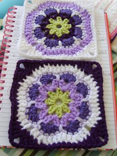 African flower granny square instructions -- could be used for the blue, white, and green crocheted granny square pillow