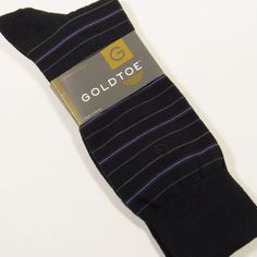 GOLD TOE Men's Combed Cotton Mini-Stripe Dress Socks BLACK/VIOLET/GRAY O/S NWT  #GOLDTOE #Dress