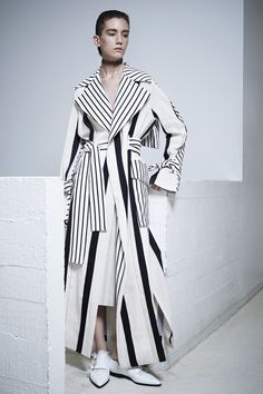 Long coat with high contrast stripe print; contemporary fashion // Acne Studios Resort 2016