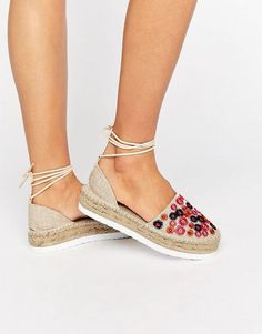 Buy ASOS JAZZY Embroidered Tie Leg Espadrilles at ASOS. Get the latest trends with ASOS now. Beige Sandals, Cute Sandals, Cute Shoes, Me Too Shoes, Beige Shoes, Lace Up Espadrilles, Espadrille Shoes, New Shoes, Shoes Heels