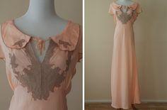 1930s nightgown. Glamorous vintage sleepwear, negligee, lounging fashion.