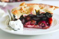 Sweet Cherry Pie with Amaretto Whipped Cream | How Sweet It Is on We Heart It.