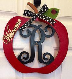 Wooden Apple door hanger, Apple decor, Teacher wall hanger, monogram wall hanger, teacher gift from ShellysChicDesigns on Etsy. Saved to Summer wreath. Letter Door Hangers, Wooden Door Hangers, Apple Decorations, School Decorations, Apple Kitchen Decor, Kitchen Ideas, Apple Home, Monogram Wall, School Gifts