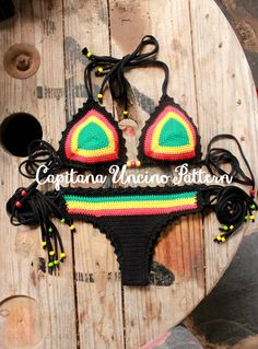 PDF, Crochet PATTERN for Rasta Queen Crochet Bikini Top and Brazilian Bottom, Cheeky, Sizes XS-L by CapitanaUncino on Etsy