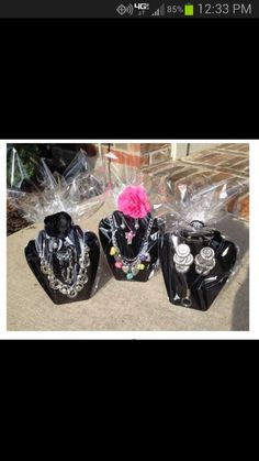 Super cute way to display your Paparazzi gifts!  Purchase a cheapie neck form and wrap with cellophane!  Cute!